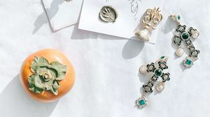 Preview wallpaper persimmon, fruits, crosses, earrings, jewelry, aesthetics