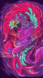 Preview wallpaper phoenix, bird, art, colorful, bright