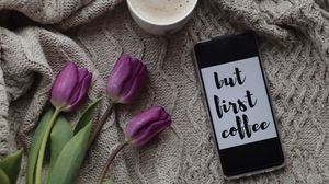 Preview wallpaper phone, coffee, text, inscription