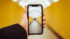 Preview wallpaper phone, hand, tunnel, perspective