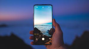 Preview wallpaper phone, smartphone, hand, photo, landscape