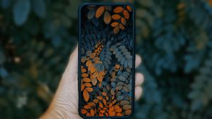 Preview wallpaper phone, smartphone, hand, leaves, photo