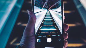 Preview wallpaper phone, smartphone, hand, escalator, photo