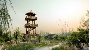 Preview wallpaper photoshop, nature, tower, grass, sky, landscape