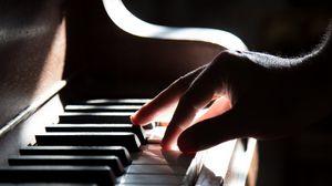 Preview wallpaper piano, hand, piano keys, shadow