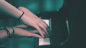 Preview wallpaper piano, hands, play, keys, music