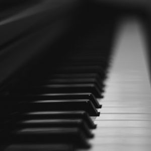 Preview wallpaper piano, keys, musical instrument, bw, music