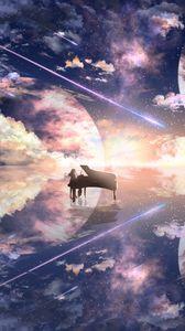 Preview wallpaper piano, silhouette, space, illusion, anime