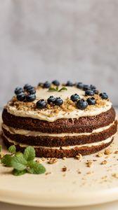 Preview wallpaper pie, blueberries, mint, nuts, dessert