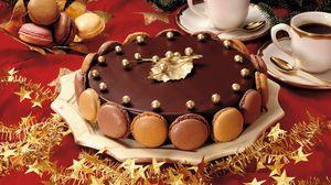 Preview wallpaper pie, sweet, dessert, chocolate, glaze, festive table, coffee, glasses