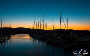 Preview wallpaper pier, dock, boat, sunset, sky