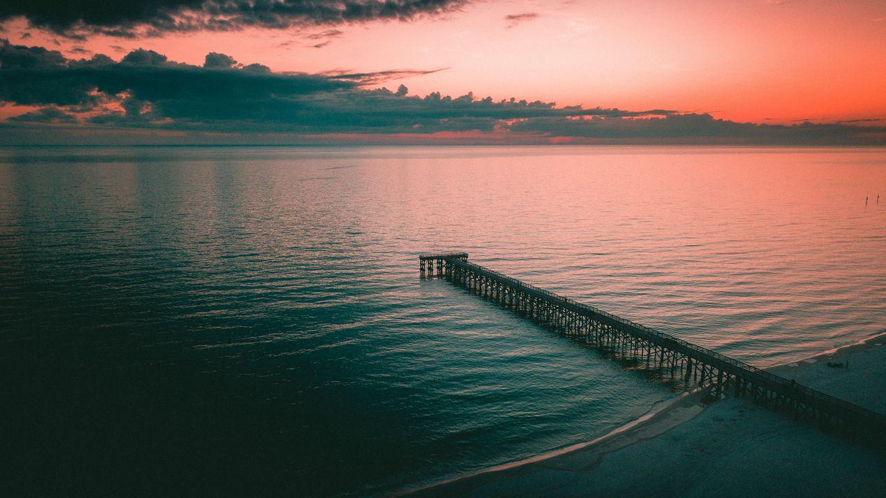 Wallpaper pier, dock, sea, dusk, shore