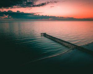 Preview wallpaper pier, dock, sea, dusk, shore