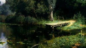 Preview wallpaper pier, lake, water-lilies, trees, painting, art, polenov, overgrown pond
