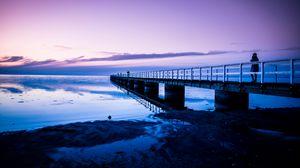 Preview wallpaper pier, ocean, sunset, malmo, sweden