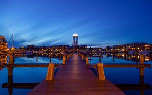 Preview wallpaper pier, promenade, sea, city, dusk