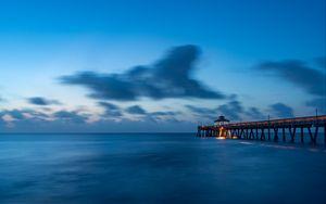 Preview wallpaper pier, sea, dusk, water, clouds