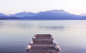 Preview wallpaper pier, sea, mountains, shore