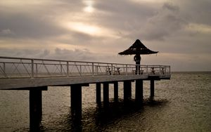 Preview wallpaper pier, sea, shore, beach, water
