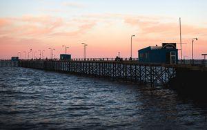 Preview wallpaper pier, sea, water, dusk