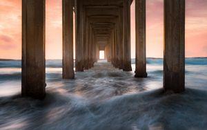 Preview wallpaper pier, sea, waves, pillars, water