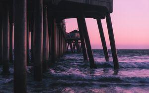 Preview wallpaper pier, waves, sea, water, dusk