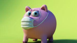 Preview wallpaper pig, piggy bank, mask, disease