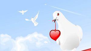 Preview wallpaper pigeon, birds, hearts, paint