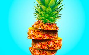 Preview wallpaper pineapple, fruit, exotic, slices