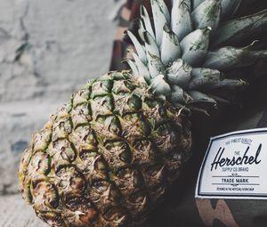 Preview wallpaper pineapple, fruit, ripe, label