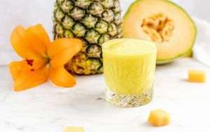 Preview wallpaper pineapple, melon, fruit, smoothie, fresh, glass