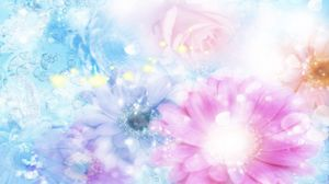 Preview wallpaper pink, blue, flowers, blurred, background, effects