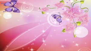 Preview wallpaper pink, white, reflections, butterflies, flowers