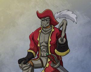 Preview wallpaper pirate, armor, hat, hook, art
