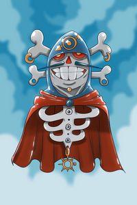 Preview wallpaper pirate, skeleton, mantle, sky, art