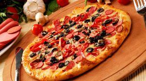 Preview wallpaper pizza, batch, knife, fork