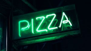 Preview wallpaper pizza, neon, signboard, inscription