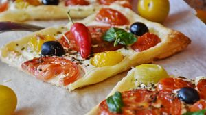 Preview wallpaper pizza, vegetables, olives, peppers, cheese