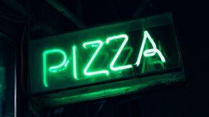 Preview wallpaper pizza, word, neon, signboard, light, green