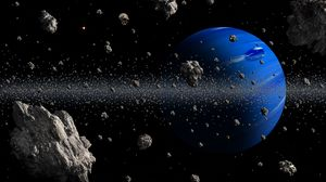Preview wallpaper planet, asteroids, space, blue, asteroid belt