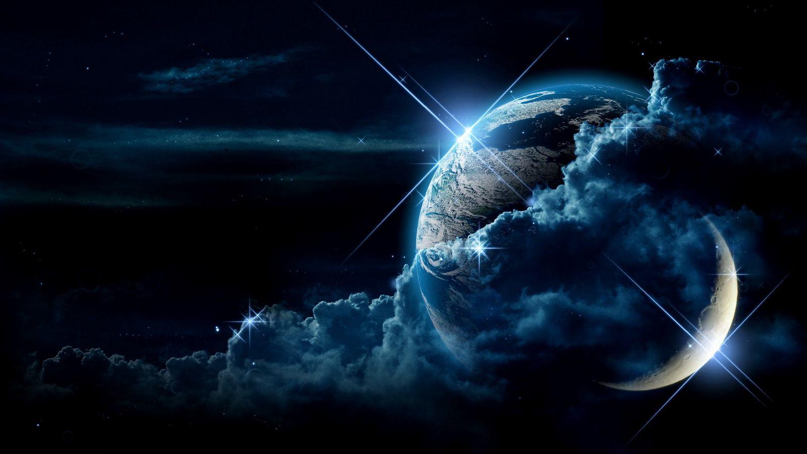 1600x900 Wallpaper planet, clouds, light, star
