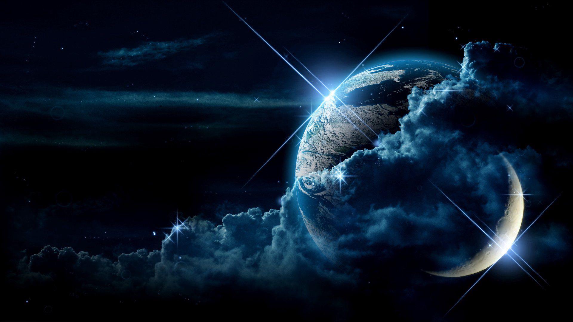 1920x1080 Wallpaper planet, clouds, light, star