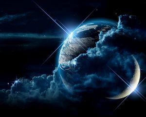 Preview wallpaper planet, clouds, light, star