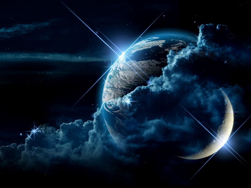 800x600 Wallpaper planet, clouds, light, star
