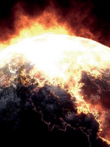 Preview wallpaper planet, explosion, radiation, close-up