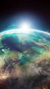 Preview wallpaper planet, flare, shine, halo, space