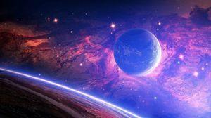 Preview wallpaper planet, light, spots, space