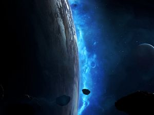 Preview wallpaper planet, meteorite, asteroid, space