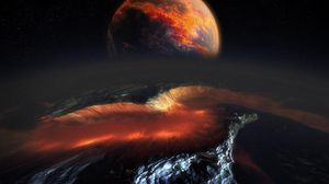Preview wallpaper planet, meteorite, space