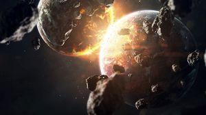 Preview wallpaper planet, meteorite, stones, glow